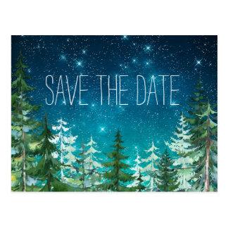 För nattskog för stjärna ljus spara för bröllop vykort