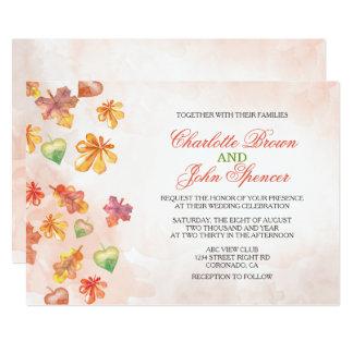 För nedgångbröllop för vattenfärg höst löv 12,7 x 17,8 cm inbjudningskort