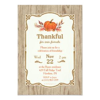 För nedgångpumpa för thanksgiving tacksam inbjudan