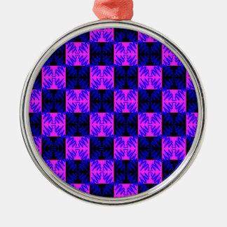 För neondesign för blått rosa optiskt mönster för julgransprydnad metall