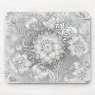 För neutraltgrått för shabby chic blom- silver för musmatta