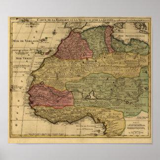 För norrafrika för vintage 1742 karta poster