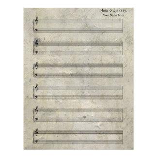 För notbladpiano 6 för vintage gammal nedfläckad brevhuvud