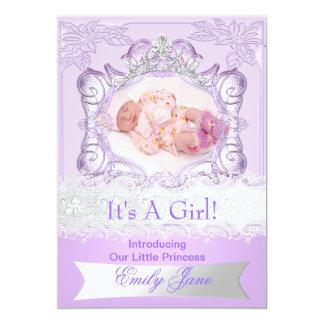 För nyfödd bebisflicka för Princess Lila 12,7 X 17,8 Cm Inbjudningskort