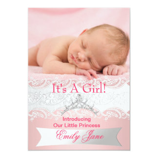För nyfödd bebisflicka för Princess Rosa foto för 12,7 X 17,8 Cm Inbjudningskort
