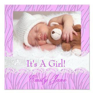 För nyfödd bebisflicka för sebra lila foto för fyrkantigt 13,3 cm inbjudningskort