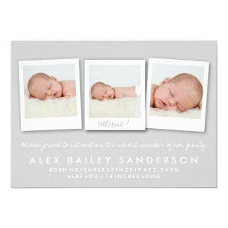 För nyfödd bebisfödelse för silver grått foto för 12,7 x 17,8 cm inbjudningskort