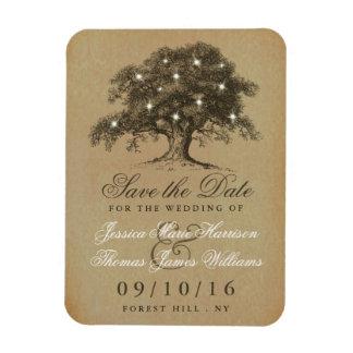 För Oakträd för vintage gammal bröllop spara datum Magnet