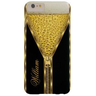 För öldrink för Zipper guld- svart och guld Barely There iPhone 6 Plus Skal