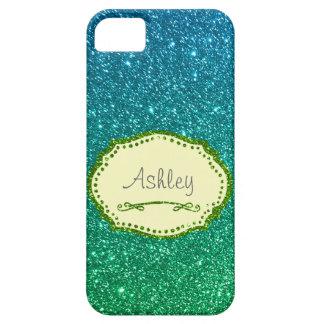 För Ombre för blått grön personlig för glitter iPhone 5 Case-Mate Fodral