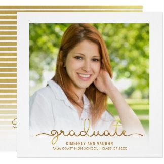 För Ombre för studentfest guld- meddelande foto Fyrkantigt 13,3 Cm Inbjudningskort