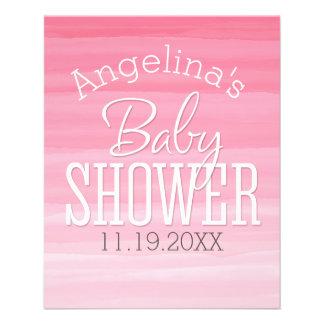 För Ombre för vattenfärg rosa baby shower söt Flyg Blad