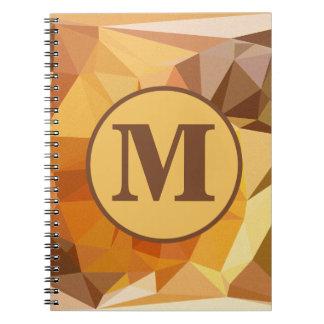 För orangegult för Monogram geometriska trianglar Anteckningsbok Med Spiral