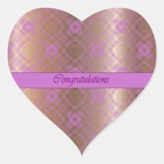 För Orchidhjärta för grattis mosaisk guld- Hjärtformat Klistermärke