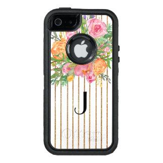 För Otterbox för guld randigt blom- fodral iPhone