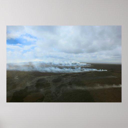 för övulkan för kilauea stort flöde för lava affischer