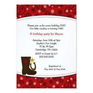 För Paisley för Cowboyfödelsedagsfest röd hästsko 12,7 X 17,8 Cm Inbjudningskort