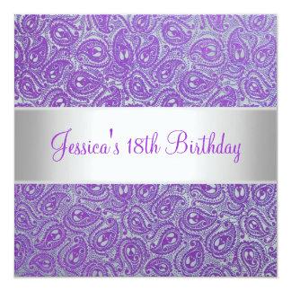 För Paisley för elegantt silver purpurfärgad Fyrkantigt 13,3 Cm Inbjudningskort