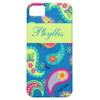 För Paisley för turkosblåttgrönt modernt namn iPhone 5 Case-Mate Skal