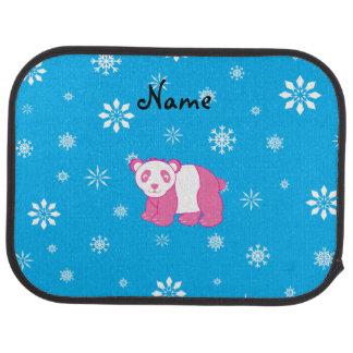 För pandablått för personlig känd rosa snöflingor bilmatta