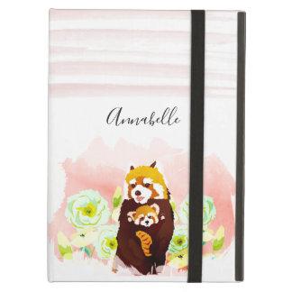 För PandaiPad för personlig rosa blom- rött fodral