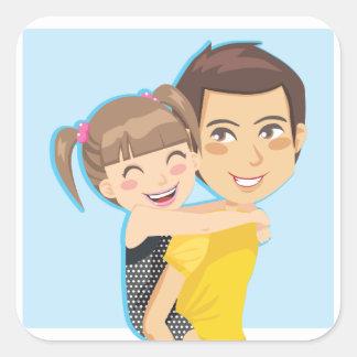 För pappor ritt på ryggen fyrkantigt klistermärke