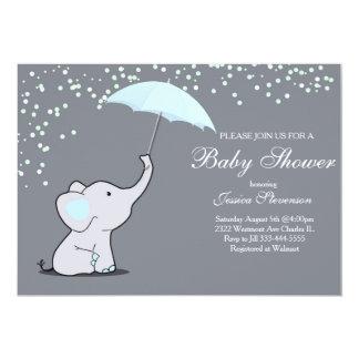 För paraplybaby shower för elefant hållande 12,7 x 17,8 cm inbjudningskort