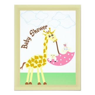 För paraplybaby shower för giraff bärande inbjudan