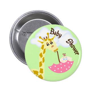 För paraplybaby shower för giraff bärande inbjudan standard knapp rund 5.7 cm