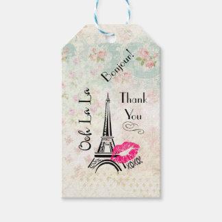 För Paris Eiffel för Ooh LaLa tack torn Presentetikett