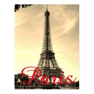 För Paris för det vintageSepiaEiffel torn staden Vykort