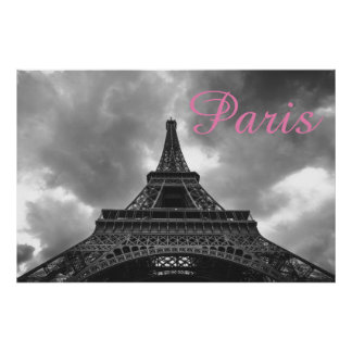För Paris för svart vitEiffel torn stad romantisk Poster