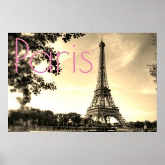 För Paris för vintageSepiaEiffel torn stad kärlek Poster