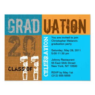 För partyinbjudan för studenten 2011 orange för anpassningsbara tillkännagivanden