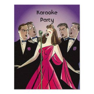 För partysocial för rolig Retro Karaoke sjungande 10,8 X 14 Cm Inbjudningskort