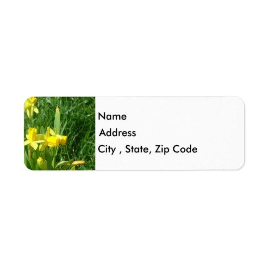 För påskliljareturadress för Buttercup gul etikett Returadress Etikett