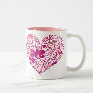 För passionvalentines för kärlek rosa mugg