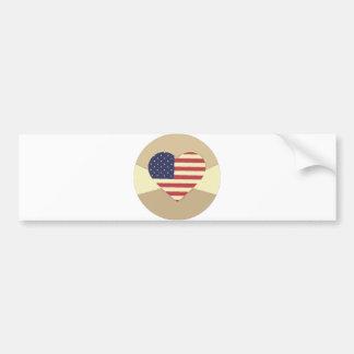 För patriotisk kräm för stil hjärtavintage för USA Bildekaler