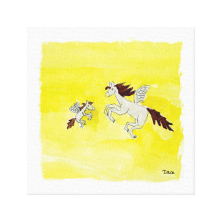 För Pegasus för vattenfärg bevingad konst för vägg Canvastryck