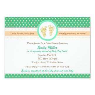 För persikababy shower för Mint grön inbjudan