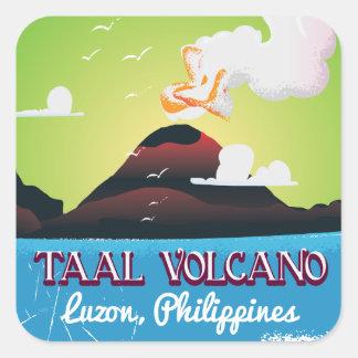 För Philipp för Taal vulkanvulkan affisch vintage Fyrkantigt Klistermärke