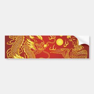 För Phoenix för guld- röd drake favör kinesisk Bildekal