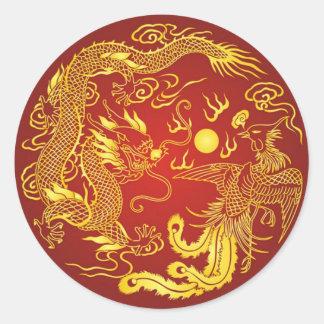 För Phoenix för guld- röd drake favör kinesisk Runt Klistermärke