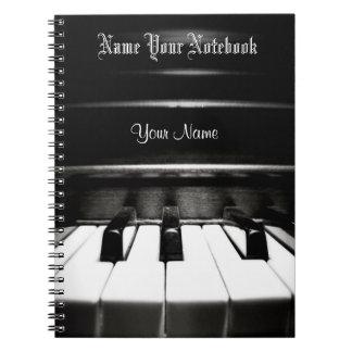 För pianomusik för personlig svart anteckningsbok