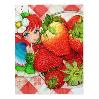 För picknickkonst för jordgubbe felikt tryck vykort