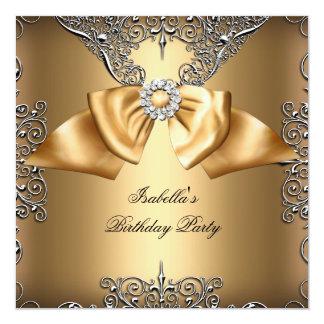 För pilbågesilver för diamant guld- beige fyrkantigt 13,3 cm inbjudningskort