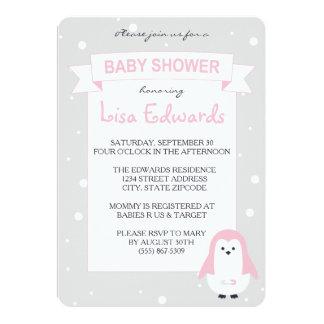 För pingvinbaby shower för baby rosa inbjudan
