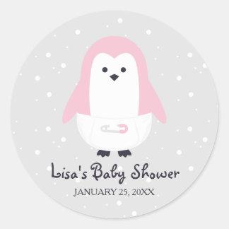 För pingvinbaby shower för baby rosa klistermärke