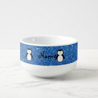 För pingvinblått för personlig känt glitter soppmugg
