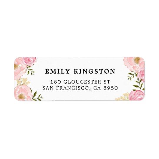 För pionadress för vattenfärg rodna rosa etikett returadress etikett